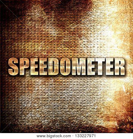 speedometer, 3D rendering, metal text on rust background