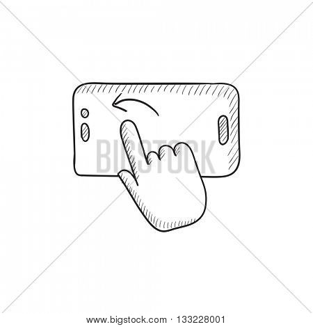 Finger touching smartphone vector sketch icon isolated on background. Hand drawn Finger touching smartphone icon. Finger touching smartphone sketch icon for infographic, website or app.