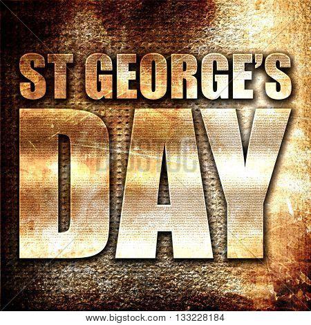 st georges day, 3D rendering, metal text on rust background