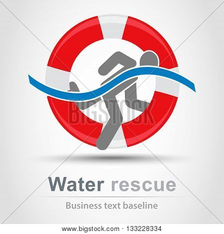 Water rescue business vector icon with people pictogram