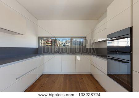 Interior of empty apartment, wide domestic kitchen