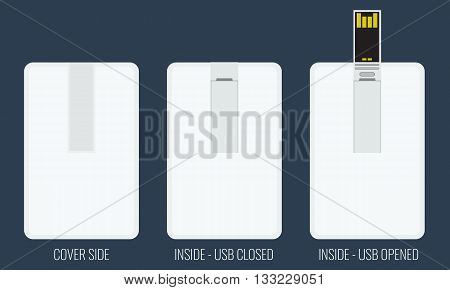USB flash card empty template for corporate identity with flat color style.