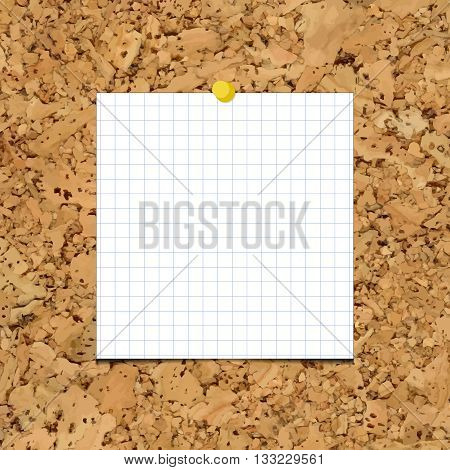 Vector sheet of paper into a cell on a cork board. Blank sheet of paper for your inscription and designs.