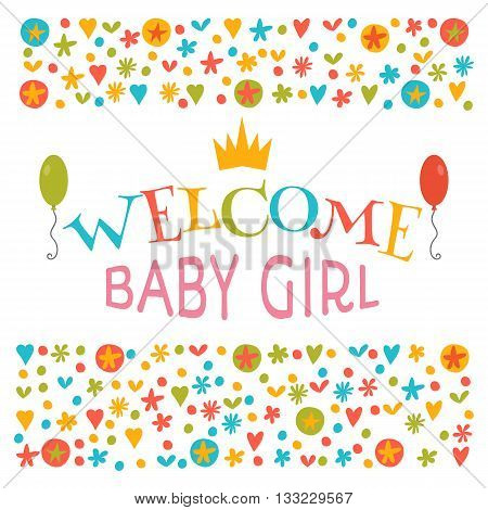 Welcome Baby Girl. Baby Girl Shower Card. Announcement Card. Baby Shower Greeting Card. Baby Girl Ar