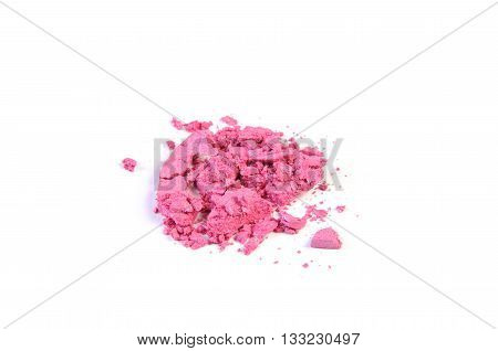 Broken pink eyeshadows isolated on white background