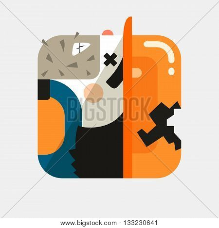 Worker avatar illustration. Trendy squared icon with shadows in flat style. Colorful and funny uncommon vector.