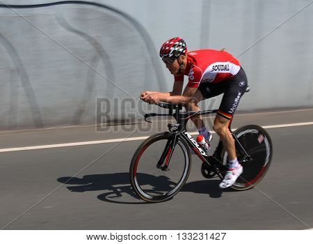 APELDOORN, NETHERLANDS-MAY 6 2016: Cyclist of pro cycling team Lotto-Soudal during the Giro d'Italia prologue time trial.