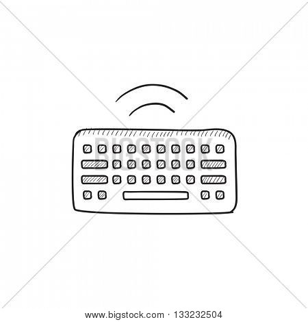 Wireless keyboard vector sketch icon isolated on background. Hand drawn Wireless keyboard icon. Wireless keyboard sketch icon for infographic, website or app.