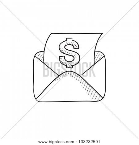 Envelope mail with dollar sign vector sketch icon isolated on background. Hand drawn Envelope mail with dollar sign icon. Envelope mail with dollar sign sketch icon for infographic, website or app.