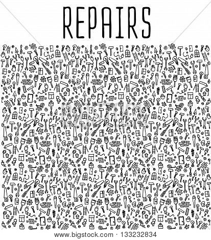 Hand drawn repairs construction tools seamless logo, repairs doodles elements, repairs seamless background. Repairs sketchy illustration