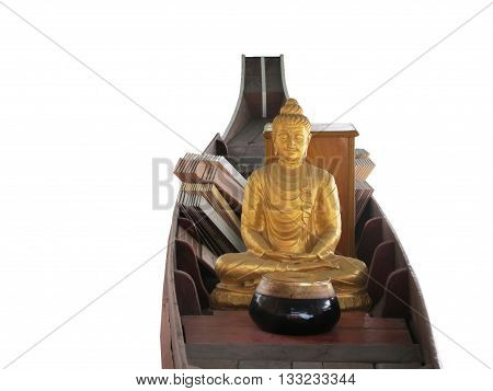 isolated gold buddha statue with alms bowl meditate on the boat