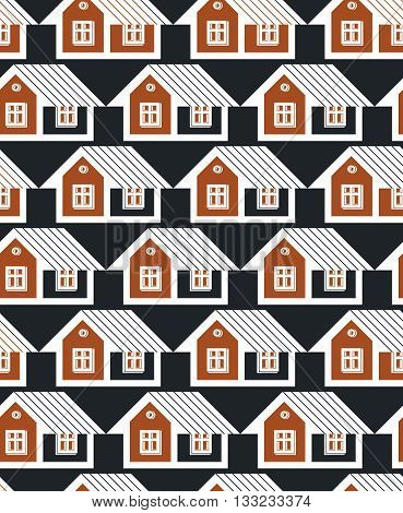 Real estate theme symmetric vector seamless pattern abstract houses .