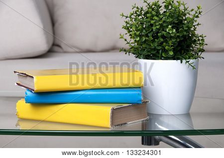 stack of books placed on glass table in living room