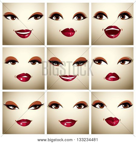 Set of vector beautiful female simple portraits with stylish makeup brown eyes and red lips. Women face features expressing different emotions.