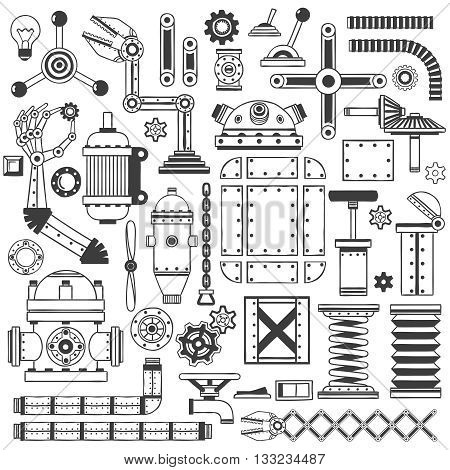 Spare parts collection to create machines robots devices. Handmade in doodle style.