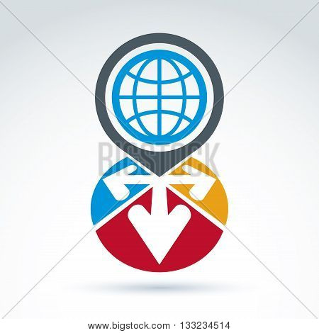 Global earth with arrows pointing out of center icon vector conceptual symbol for your design.