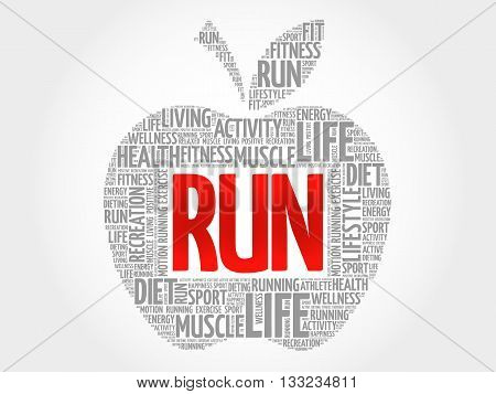 RUN apple word cloud health concept, presentation background