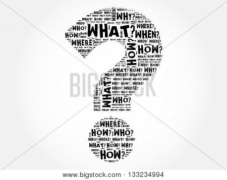 Question mark Question words cloud concept, presentation background