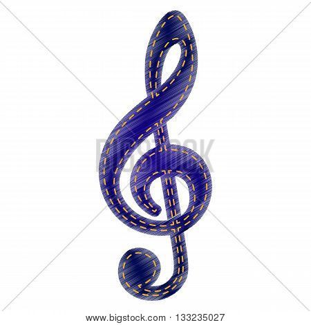Music violin clef sign. G-clef. Treble clef. Jeans style icon on white background.