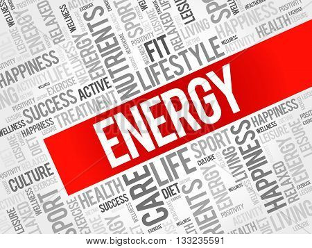 ENERGY word cloud health concept, presentation background