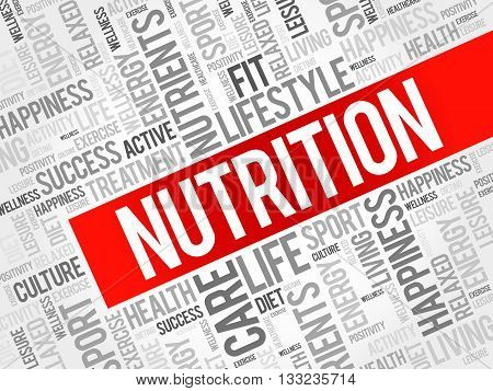 Nutrition word cloud health concept, presentation background