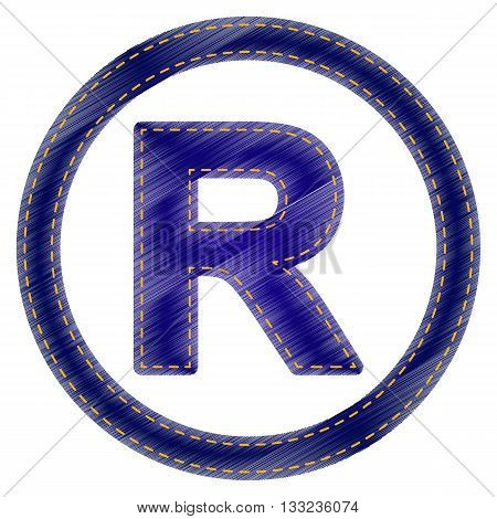 Registered Trademark sign. Jeans style icon on white background.