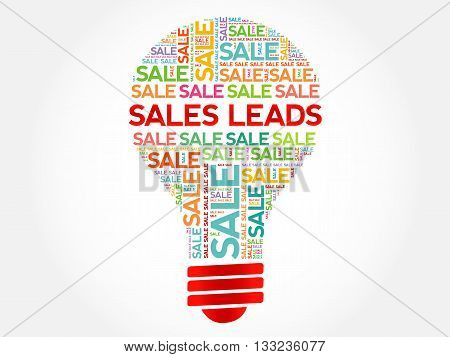 Sales Leads Bulb Word Cloud
