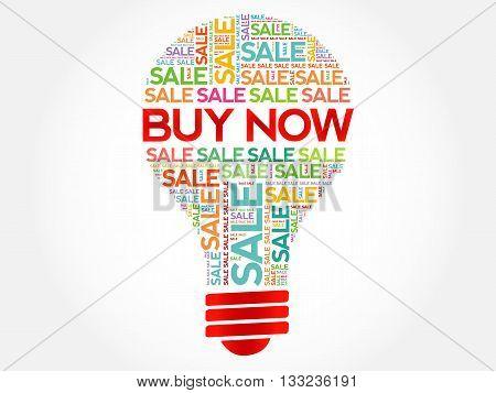 Buy Now Bulb Word Cloud