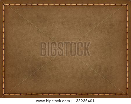 Leather texture with yellow stitches for decoration