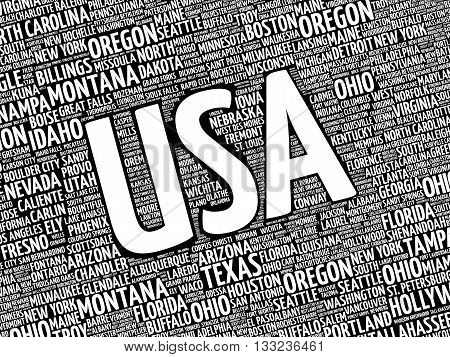 USA cities word cloud concept, presentation background
