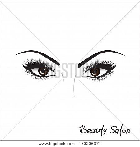 Sample logo for a beauty salon beauty products. Eyelash.  Hand drawing lettering fashion beauty sketch