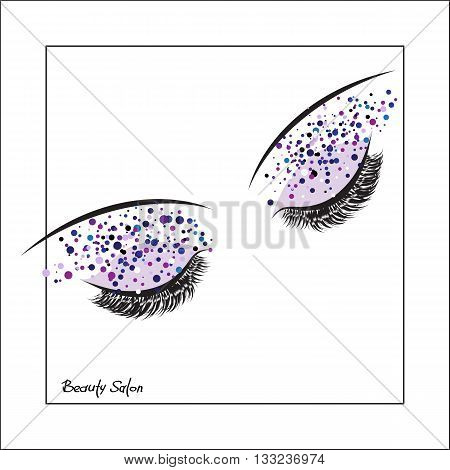 Closed eye with make up and long lashes on white background. False lashes. Beauty Salon Logo Business Card Flyer Design