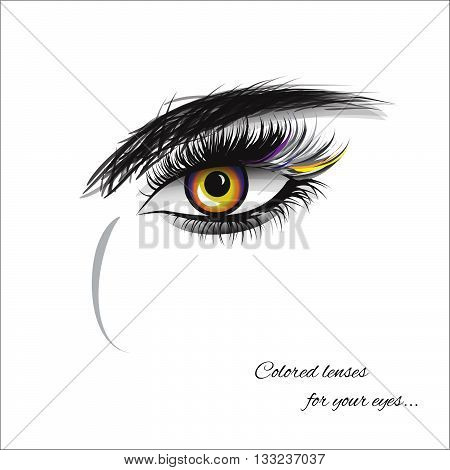 Vector eye with thick lashes. Color contact lenses. Hand drawing, lettering, fashion, beauty, sketch