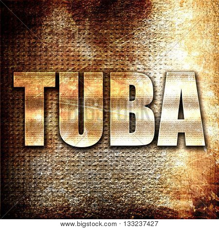 tuba, 3D rendering, metal text on rust background