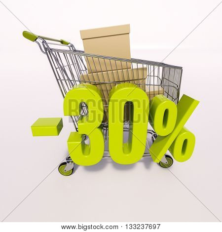 3d render: shopping cart and green 30 percentage discount sign on white, sale 30%