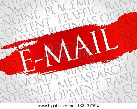 E-MAIL word cloud business concept, presentation background