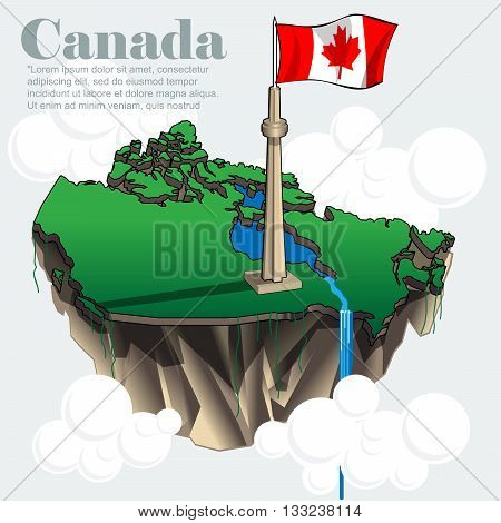 Canada country infographic map in 3d with country shape flying in the sky with clouds with the big flag and lakes. Digital vector image