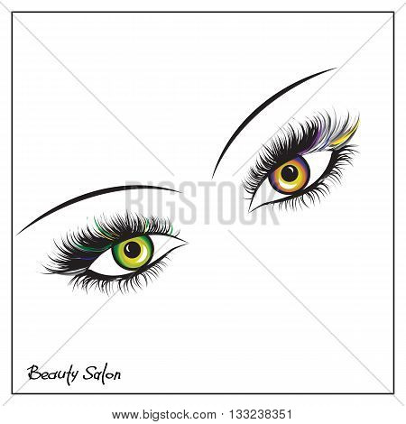 Vector eyes with thick lashes. Color contact lenses. Hand drawing lettering fashion beauty sketch
