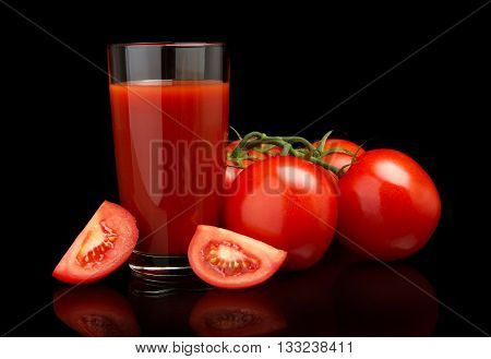 Tomato Juice With Tomatoes,green Twig On Black