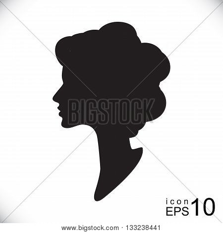 Vector silhouette cameo isolated. Women profile contour outline drawing.