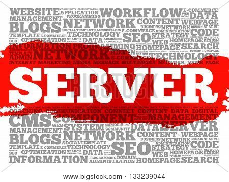 Server word cloud concept collage, presentation background