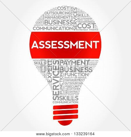 Assessment bulb word cloud business concept, presentation background