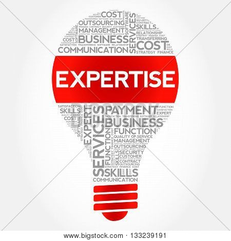 Expertise bulb word cloud business concept, presentation background