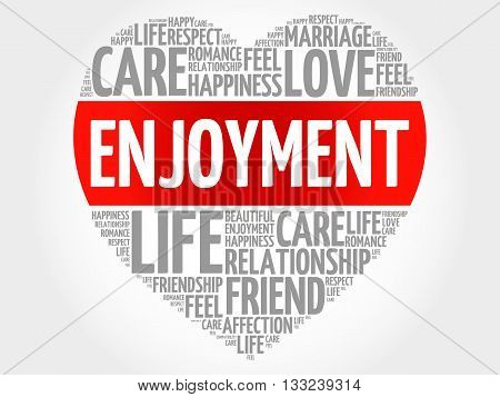 Enjoyment concept heart word cloud, presentation background