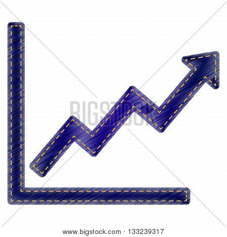 Growing bars graphic sign. Jeans style icon on white background.