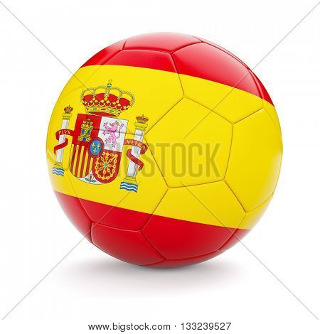 3d rendering of Spain soccer football ball with Spanish flag isolated on white background