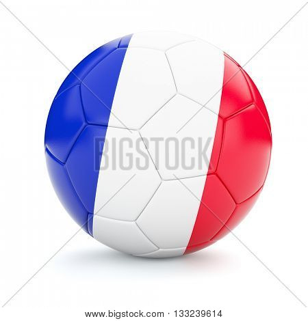 3d rendering of France soccer football ball with French flag isolated on white background