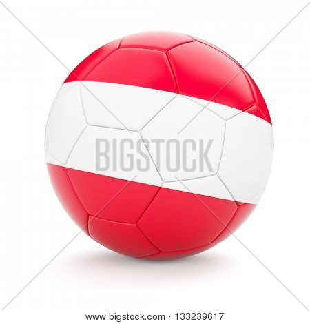 3d rendering of Austria soccer football ball with Austrian flag isolated on white background