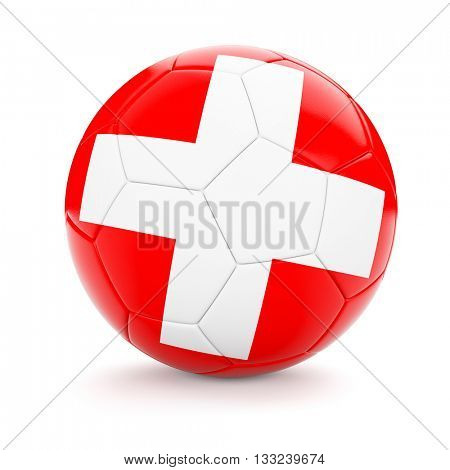 3d rendering of Switzerland soccer football ball with Swiss flag isolated on white background