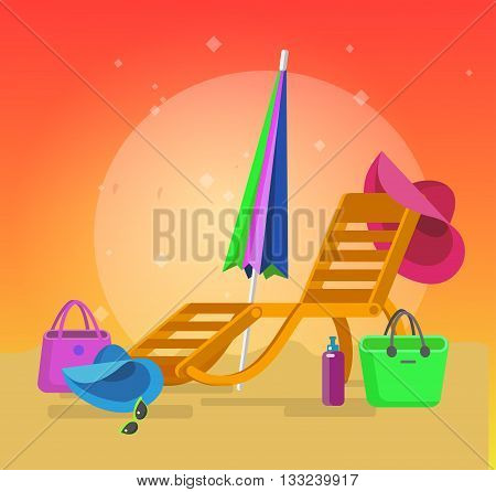 beach chaise longue, recliner in different design, vector beach chaise longue set, beach chaise longue illustration on background. Vector beach chaise longue